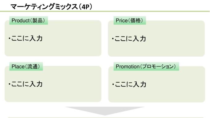 会員登録不要で無料でダウンロードできるマーケティングミックス(4P)07のテンプレート書式