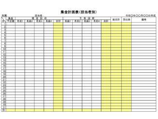 集金計画表(担当者別)のテンプレート書式