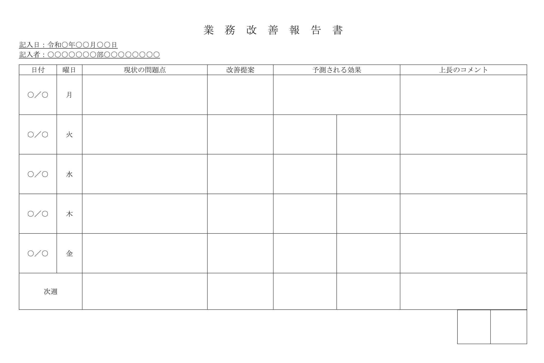 会員登録不要で無料でダウンロードできる業務改善報告書のテンプレート書式