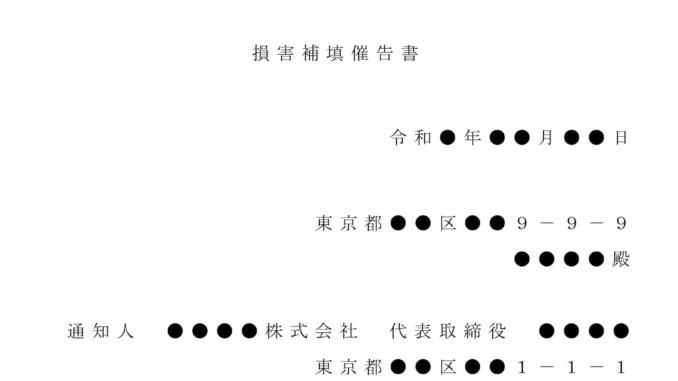 内容証明(取締役へ損害補填の催告)のテンプレート書式